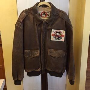 Men's 80's Era Distressed Leather Disney Jacket Lg